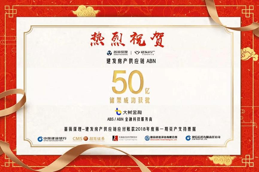 """热烈祝贺:""""蔷薇保理-建发房产供应链应付账款资产支持票据""""50亿储架成功获批"""
